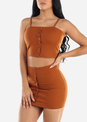 Brick Crop Top & Mini Skirt (2 PCE SET)