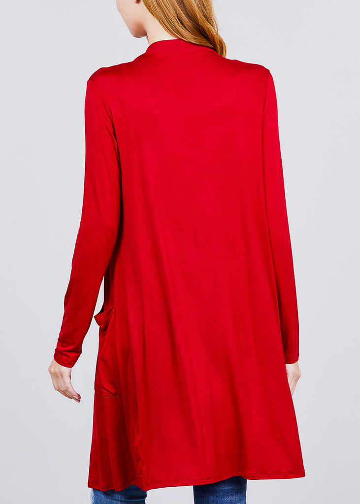 Red Open Front Maxi Cardigan