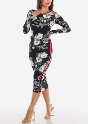 Image of Black Strappy Floral Midi Dress