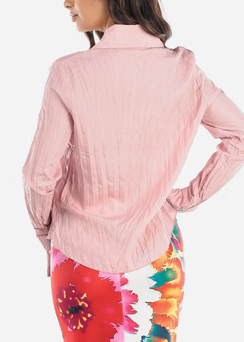 Ruffle Front Pleated Pink Blouse