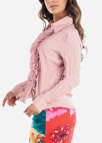 Image of Ruffle Front Pleated Pink Blouse