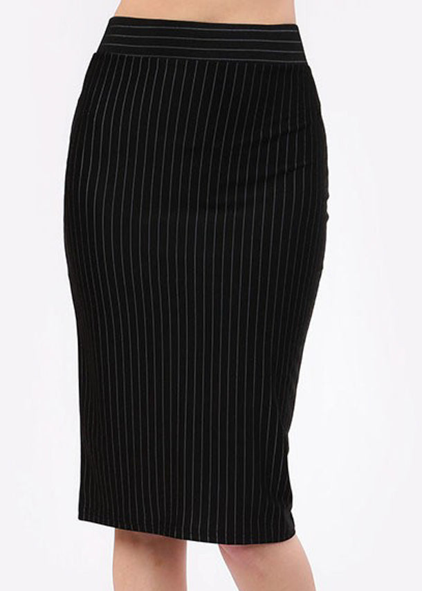 Black Pinstripe Pencil Skirt
