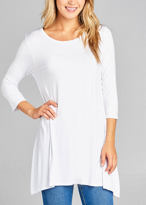 Casual 3/4 Sleeve Round Neckline Stretchy White Tunic Top