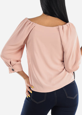 Button Up Casual Mauve Blouse