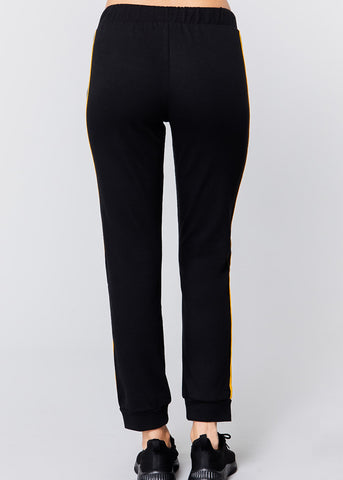 Image of Pull On Black Drawstring Jogger Pants