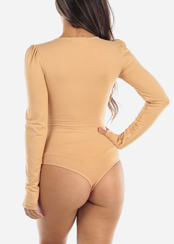 Beige V Neck Long Sleeve Bodysuit