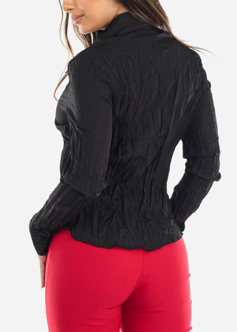 Image of Black Pleated Ruffle Front Top