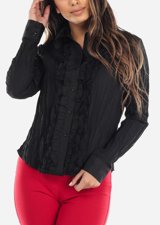 Black Pleated Ruffle Front Top