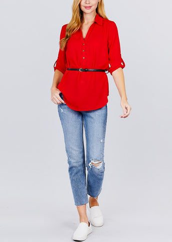 Image of Half Button Up Lightweight Red Shirt