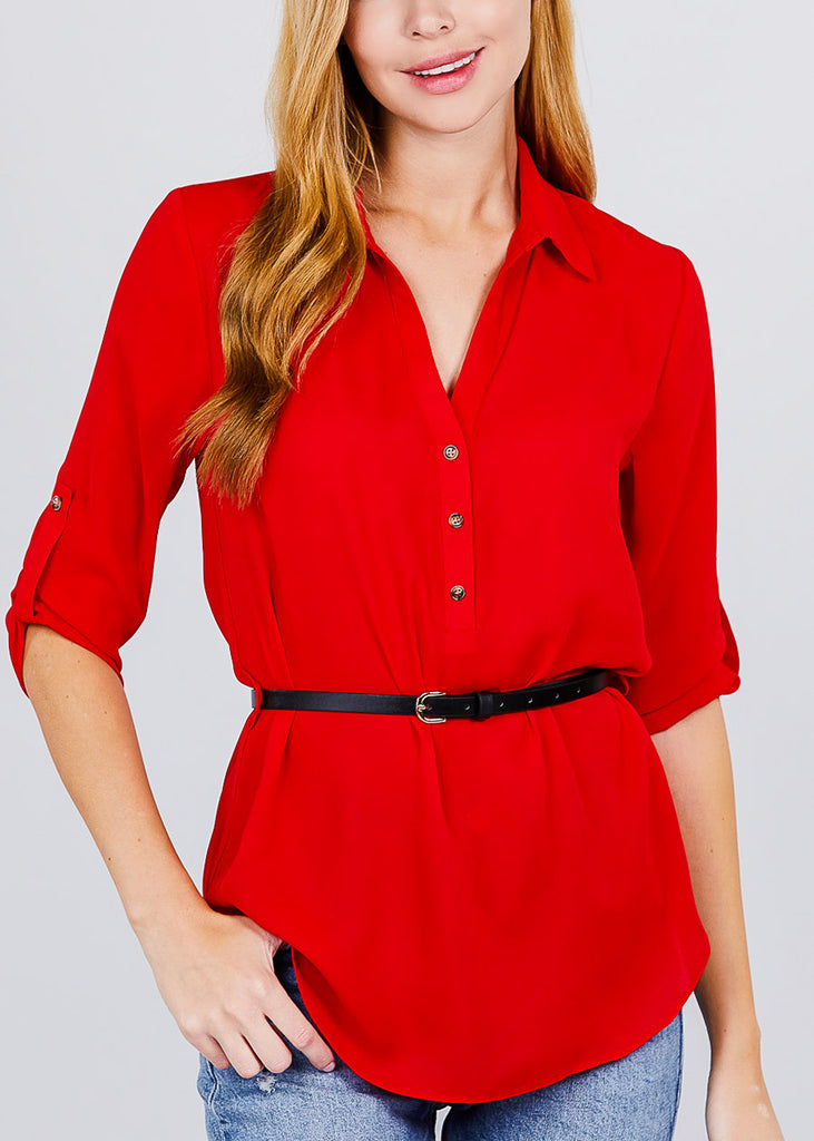 Half Button Up Lightweight Red Shirt