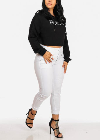 Affordable Elv People Graphic Black Cropped Sweatshirt