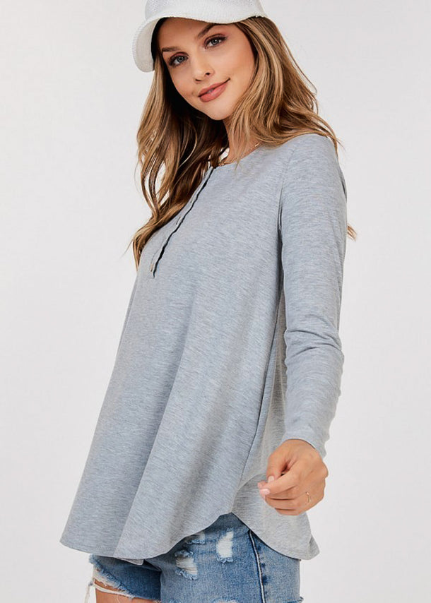 Half Button Up Grey Tunic Top