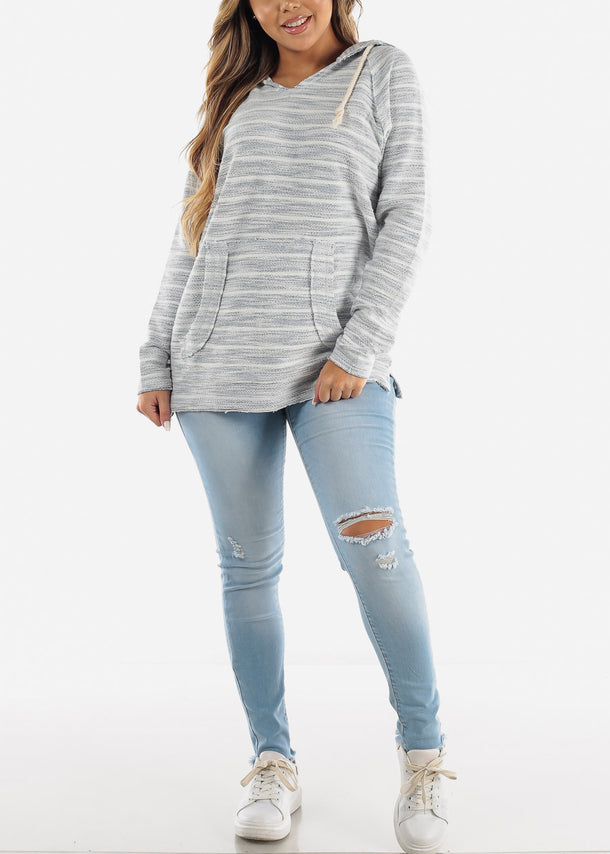 Long Sleeve Stripe Blue Sweater