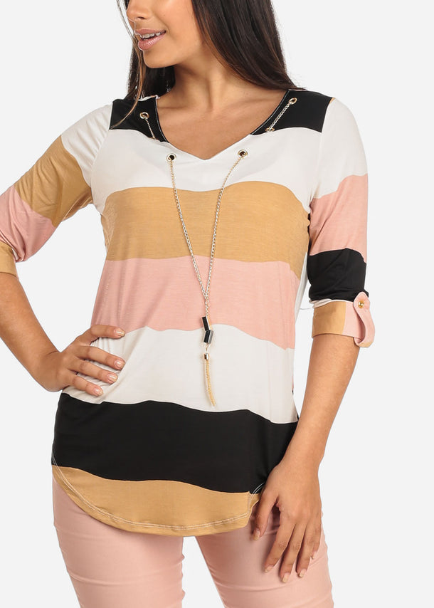 Women's Junior Ladies Dressy Stretchy Stylish 3/4 Sleeve Mauve Stripe V Neckline Top With Necklace