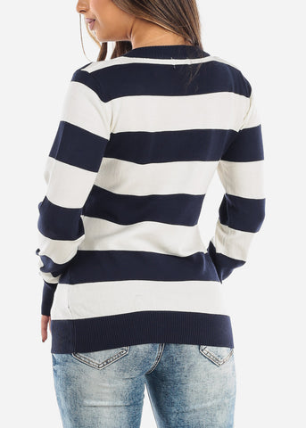 Navy & White Stripe V-Neck Sweater SW235NVYWHT