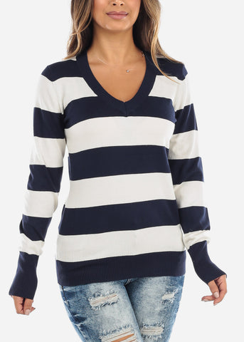 Image of Navy & White Stripe V-Neck Sweater SW235NVYWHT