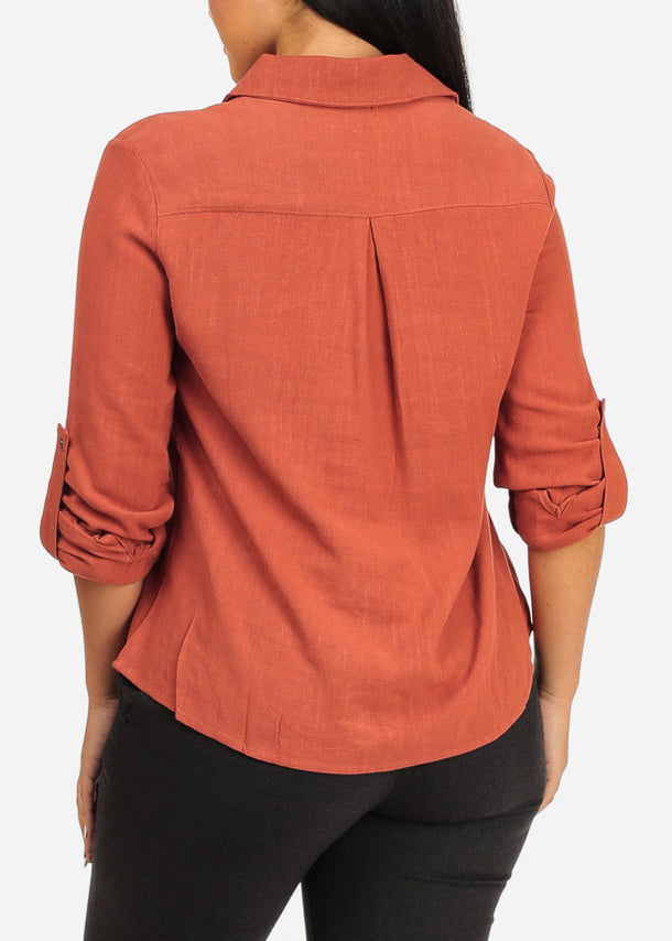 Stylish Roll Up Rust Top