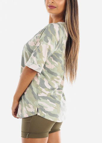 Image of Camouflage Army Print Short Sleeve Lace Up Neck Stretchy Loose Fit Flowy Pink And Green Tunic Top For Women Ladies Junior At Affordable Price On Sale