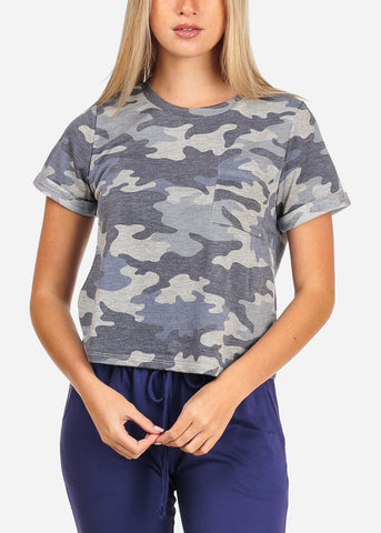 Image of Women's Junior Casual Going Out Summer Camouflage Army Print T-Shirt Top