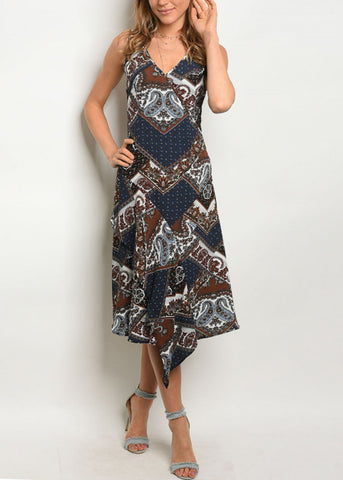 Image of Sleeveless Multicolor Printed Dress