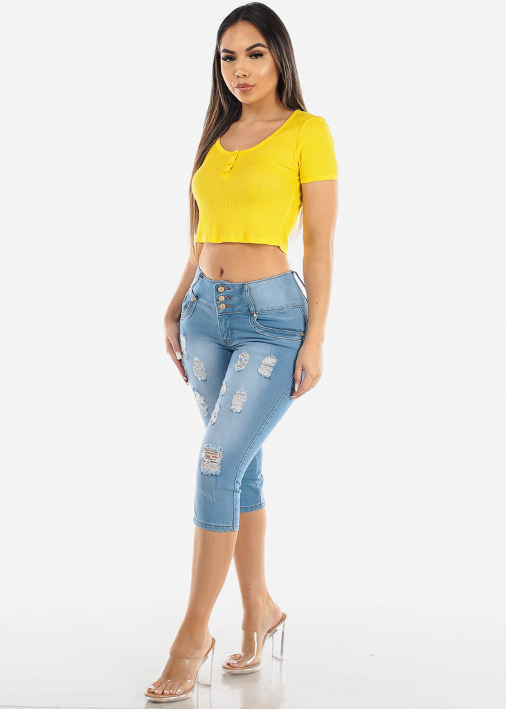 Button Front Yellow Crop Top