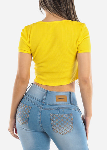 Image of Button Front Yellow Crop Top