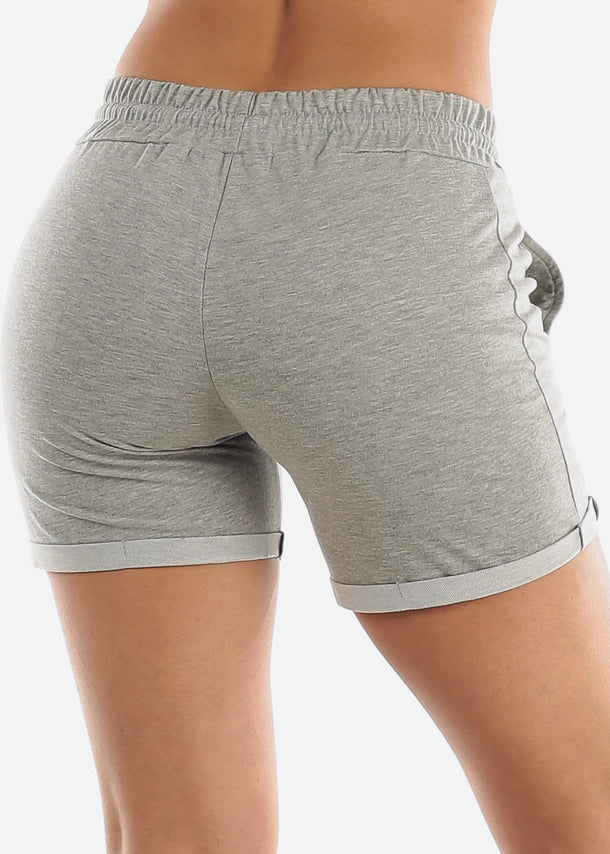 Grey Drawstring Biker Shorts