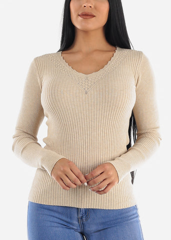 Pretty Beige Ribbed Sweaters