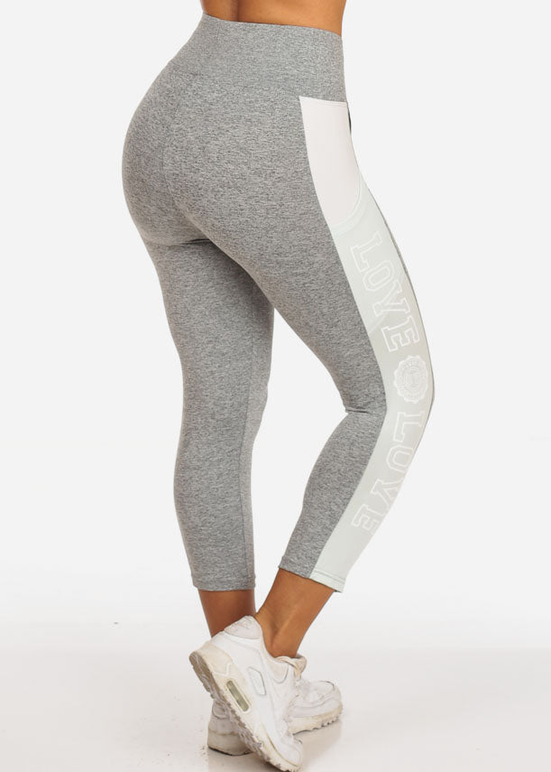 Women's Activewear Training Work Out Stretchy Running Yoga  High Waisted Mint And Grey Cropped Capris Love Graphic Leggings Pants