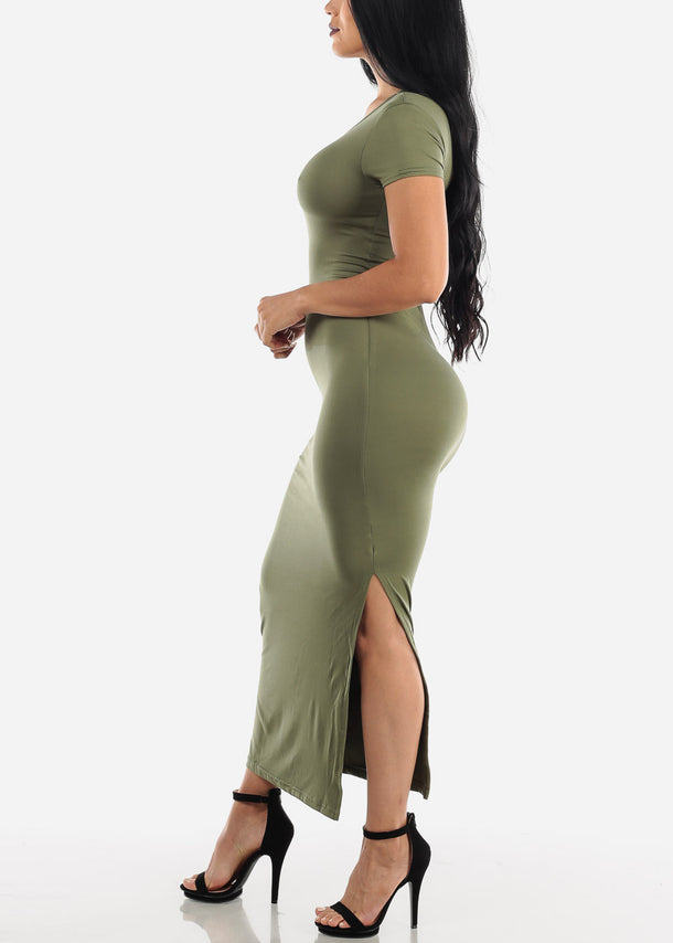 Short Sleeve Olive Bodycon Maxi Dress