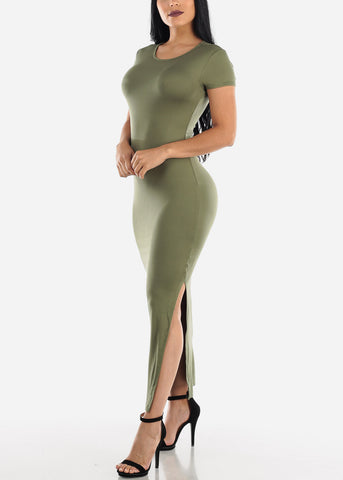 Image of Short Sleeve Olive Bodycon Maxi Dress