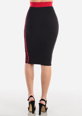 Image of Side Stripes Black Midi Skirt