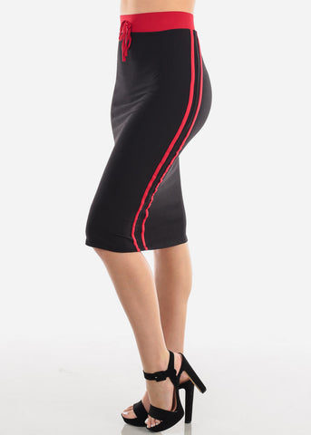 Women's Junior Ladies Cute Casual Going Out Stylish High Waisted Side Stripe Red And Black Midi Skirt
