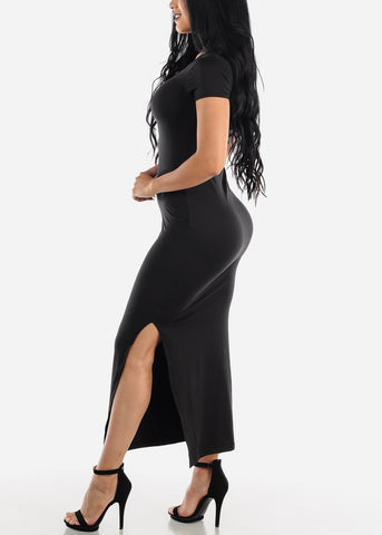 Image of Short Sleeve Black Bodycon Maxi Dress