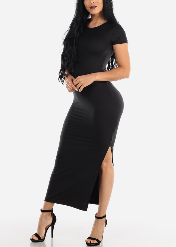 Short Sleeve Black Bodycon Maxi Dress