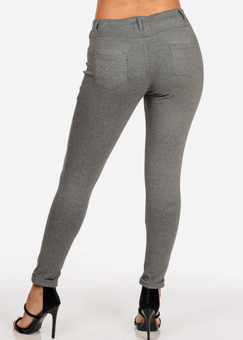 Image of Women's Junior Ladies Going Out Mid Rise 1 Button Grey Stretchy Pants