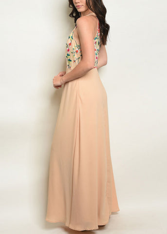 Image of Floral Halter Beige Maxi Dress