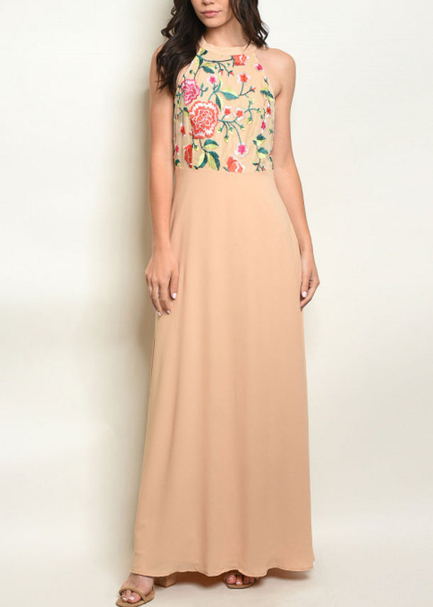 Floral Halter Beige Maxi Dress