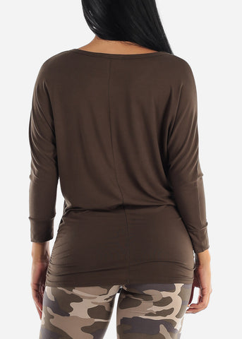 Boat Neck Shirred Olive Tunic Top