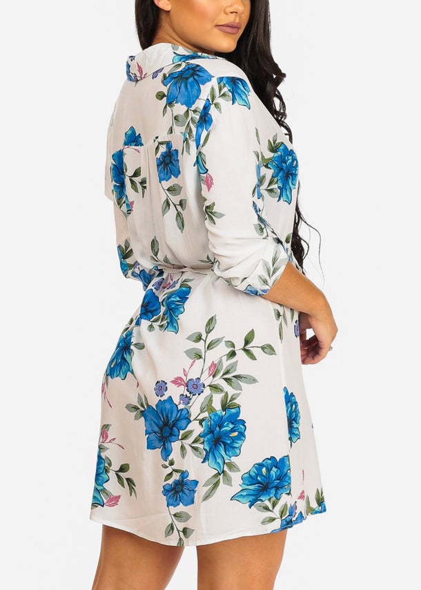 Casual White Floral Shirt Dress