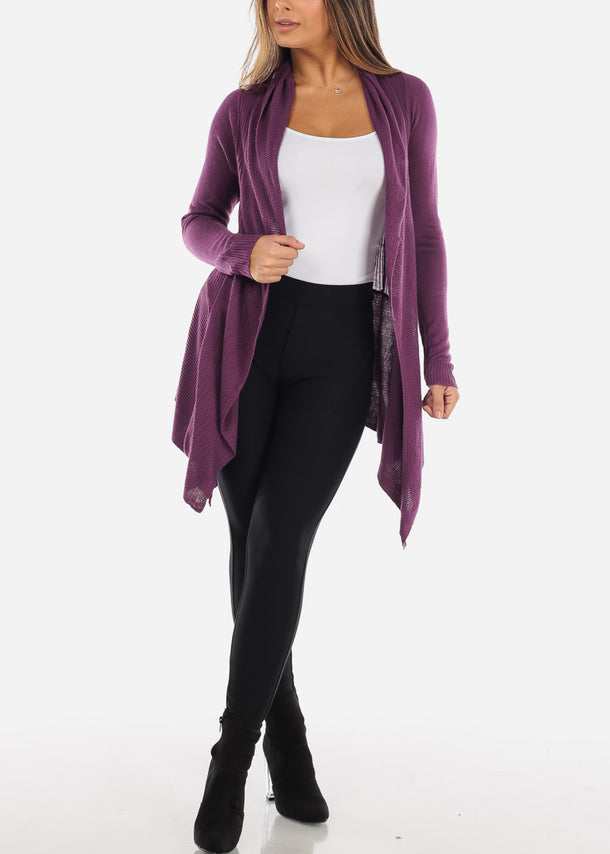 Asymmetric Purple Long Sleeve Cardigan