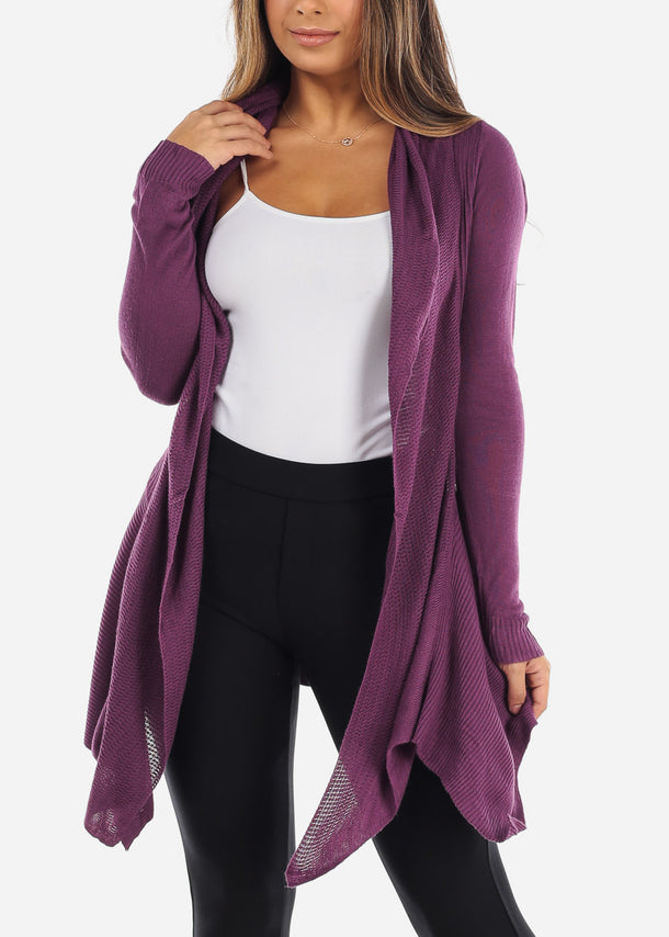 Asymmetric Purple Cardigan