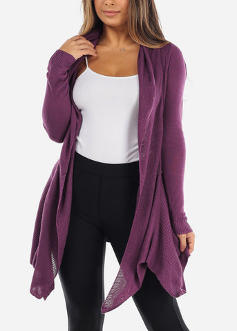 Image of Asymmetric Purple Cardigan
