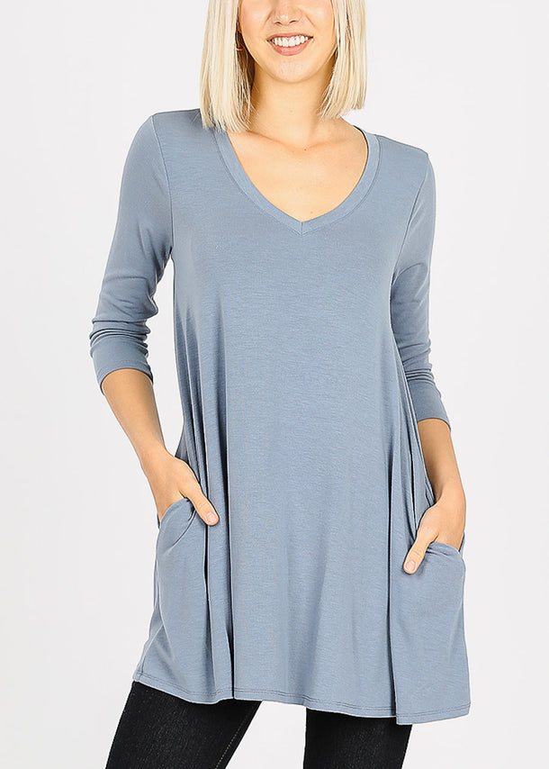 Blue Grey Flared Tunic Top