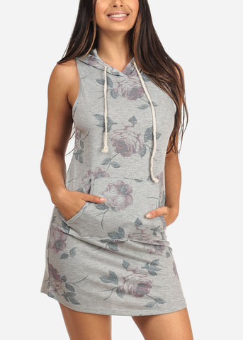 Image of Women's Junior Ladies Sexy Casual Going Out Trendy Floral Print Grey Tshirt Dress With Kangaroo Pocket
