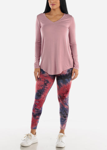 Light Rose V-Neck Dolphin Hem Tunic Top