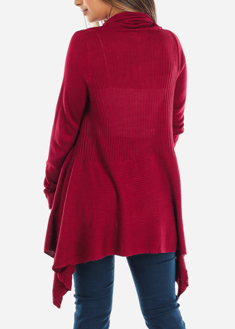 Asymmetric Burgundy Cardigan