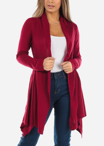 Image of Asymmetric Burgundy Cardigan