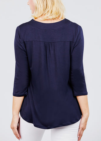Image of V-Neck 3/4 Sleeve Navy Tunic Top