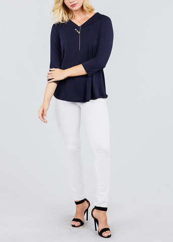 V-Neck 3/4 Sleeve Navy Tunic Top